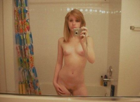 Blonde Teen Small Boobs Selfie