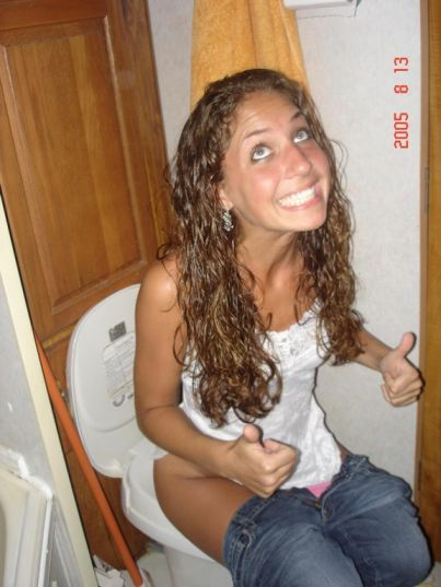 Cute Teen Girl On Toilet