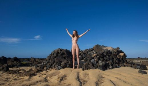fucking, brunette Lets Go Naked On The Beach with Those Teens