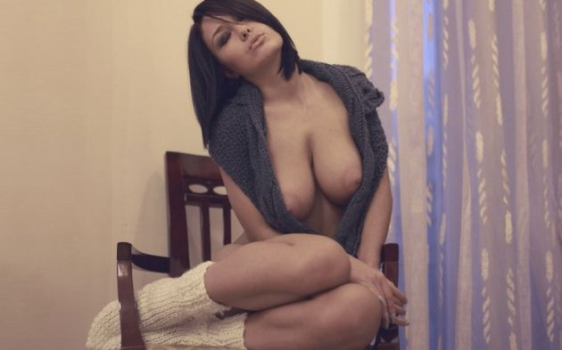 Teen Girl Brunette Large Nipples Tits Socks Chair