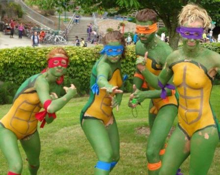Teenage Mutant Ninja Turtles Nude Body Paint