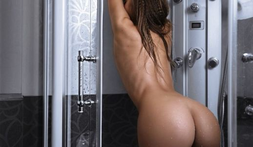 Wet Big Teen Ass Shower In