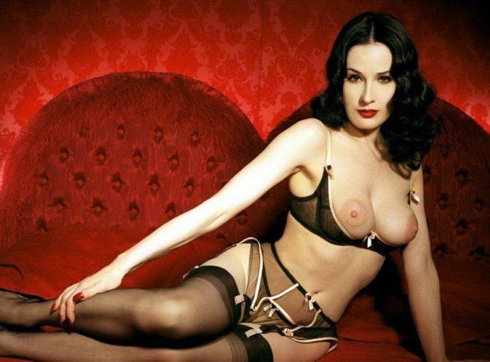 tube8 Dita Von Teese Nude Topless On Bed