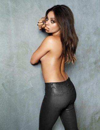 tube8 Mila Kunis Nude Topless Posing In Sexy Tight Leather Jeans