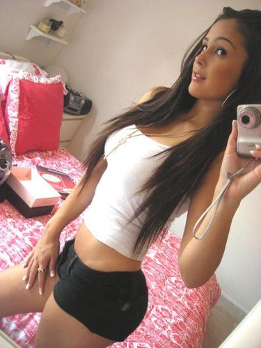 tube8, selfie, brunette Super hot brunette teen fit hot body selfie